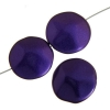 Glass Icy Coin 20mm Purple Metallic